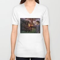 cyrilliart V-neck T-shirts featuring Dragon Series: Louis by Cyrilliart