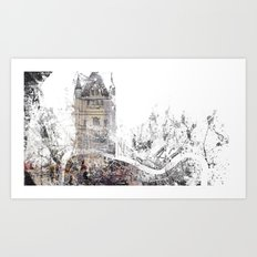 London map - Tower Bridge painting Art Print