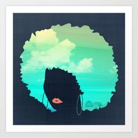 afro Art Prints featuring Afro by Studio Samantha
