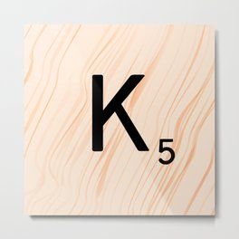 Scrabble Letter K - Large Scrabble Tiles Metal Print