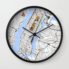 New York City Map United States Mondrian color Wall Clock
