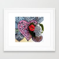 hamsa Framed Art Prints featuring hamsa by oxana zaika