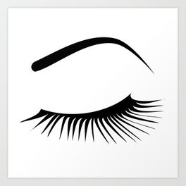 Closed Eyelashes Left Eye Art Print