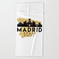 MADRID SPAIN SILHOUETTE SKYLINE MAP ART Beach Towel