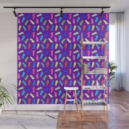 Flip Flops Pattern Purple Wall Mural