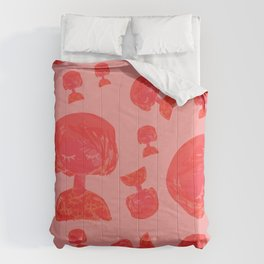 Cute Sleepy Girl Pattern / Cherry Red Palette Comforters