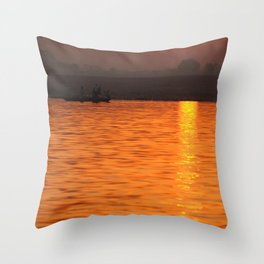 Sunrise on the Ganges Throw Pillow