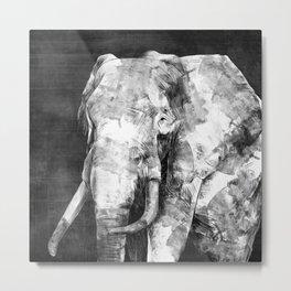 Black and white Elephant Digital Art Metal Print