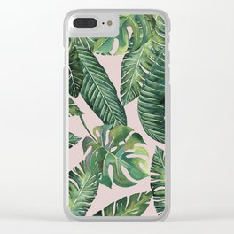 Jungle Leaves, Banana, Monstera Pink #society6 Clear iPhone Case