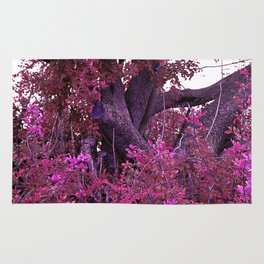 Pink red alien planet tree bright Rug