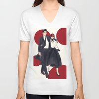 soviet V-neck T-shirts featuring Soviet Spouses on a Mission by Elithien