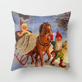 """""""Sled Ride at Night"""" by Jenny Nystrom Throw Pillow"""