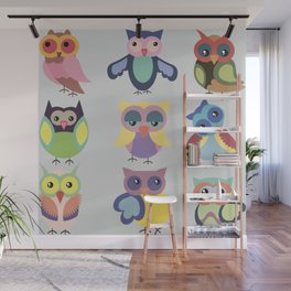 Set of cute colorful owls Wall Mural