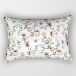 Watercolor pattern with apricots and flowers Rectangular Pillow