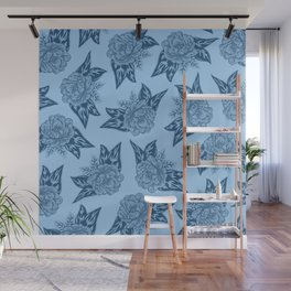 Cabbage Roses in Blue Wall Mural