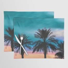 Tropical Palm Sunset in Turquoise Placemat