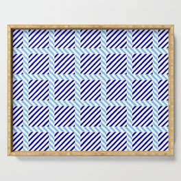 optical pattern 70 blue Serving Tray