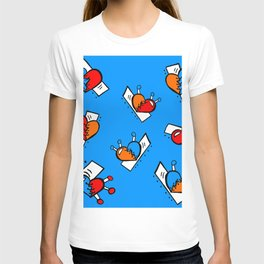 Hearts with Stitches - Blue Red Orange - Bright Blue T-shirt