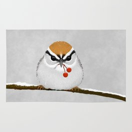 Chipping Sparrow on a Branch Rug