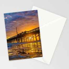 Low Angle Sunset at Newport Pier Stationery Cards