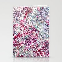 brussels Stationery Cards featuring Brussels Map by MapMapMaps.Watercolors