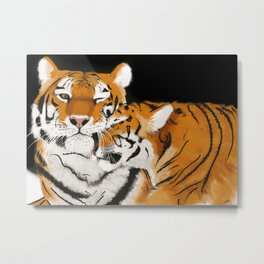 Tiger cub and mom (cheek-bump) Metal Print