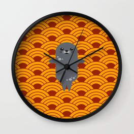 Little Seal Playing in a Bowl of Spaghetti Wall Clock