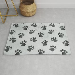 Grunge Animal Cat Dog Paw Print Pattern Rug