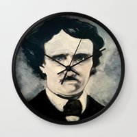 edgar allen poe Wall Clocks featuring Poe by Christopher Chouinard