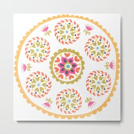 Suzani inspired floral 4 Metal Print