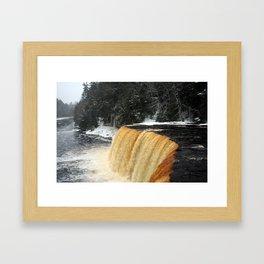 Wintry Waterfall Framed Art Print