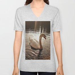 Swan in the evening light Unisex V-Neck