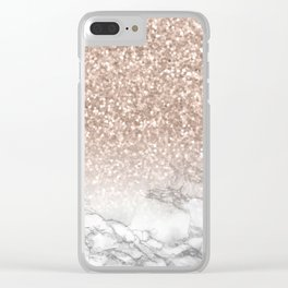 She Sparkles - Rose Gold Glitter Marble Clear iPhone Case