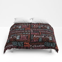 Text and the City in Multi Retro + Black Comforters