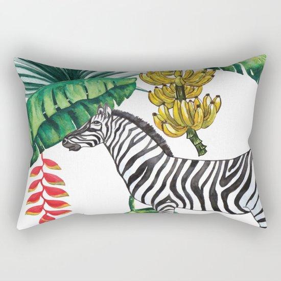 watercolor banana leaves with zebra Rectangular Pillow