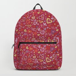 Hearts Paper Collage Valentines Day Pattern Red Pink Gold Backpack