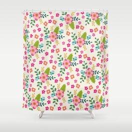 Pink Fuchsia Spring Flower Pattern Shower Curtain