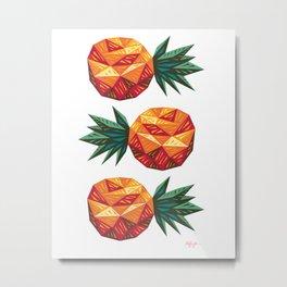 Edgy Pineapple Metal Print