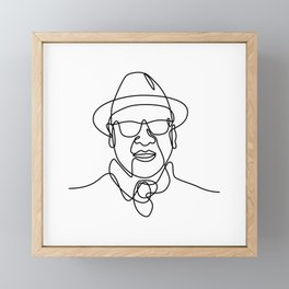 Asian Man or Gentleman Wearing a Fedora Hat and Sunglasses Smiling Continuous Line Drawing  Framed Mini Art Print
