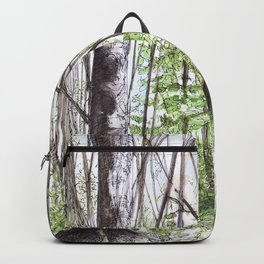 Woodland Trees in Vermont Illustration Nature Art Backpack