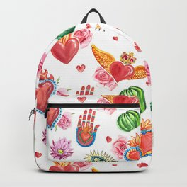 Sacred Mexican heart watercolor Backpack