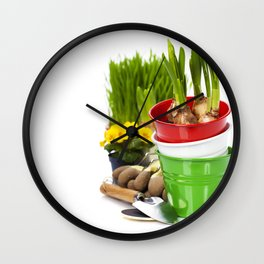 Spring flowers and garden tools  isolated on white Wall Clock