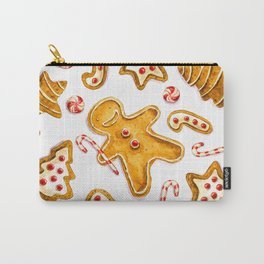 Gingerbread cookies pattern in watercolor Carry-All Pouch