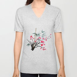 bamboo and red plum flowers Unisex V-Neck