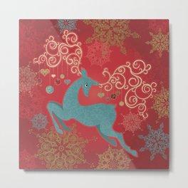 Magic Winter Deer Metal Print