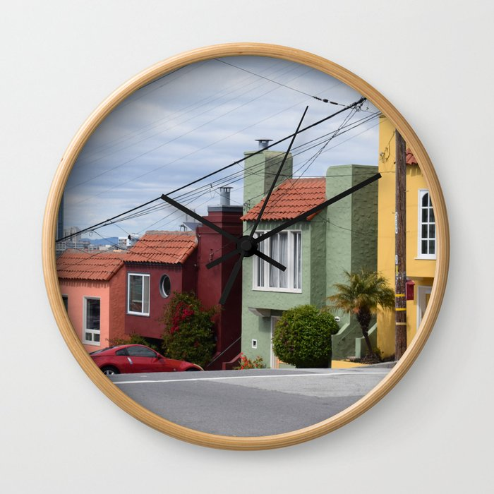 Houses of color in San Fransisco Wall Clock
