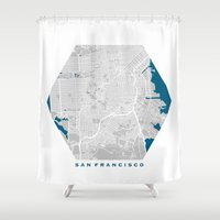 san francisco map Shower Curtains featuring San Francisco city map grey colour by MCartography