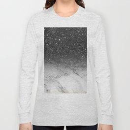 Stylish faux black glitter ombre white marble pattern Long Sleeve T-shirt