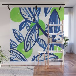 Blue and lime green abstract apple tree Wall Mural