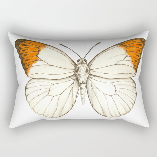 Watercolor butterfly, great orange tip Rectangular Pillow